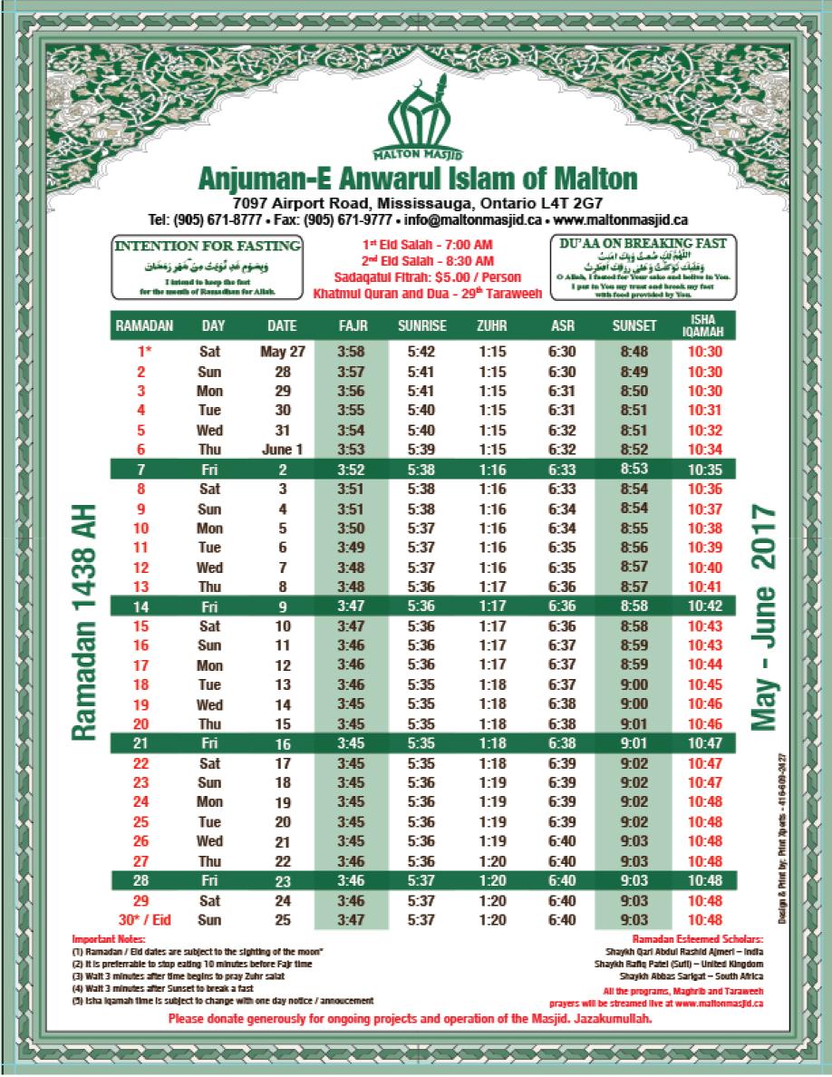 Prayer Times – Malton Masjid