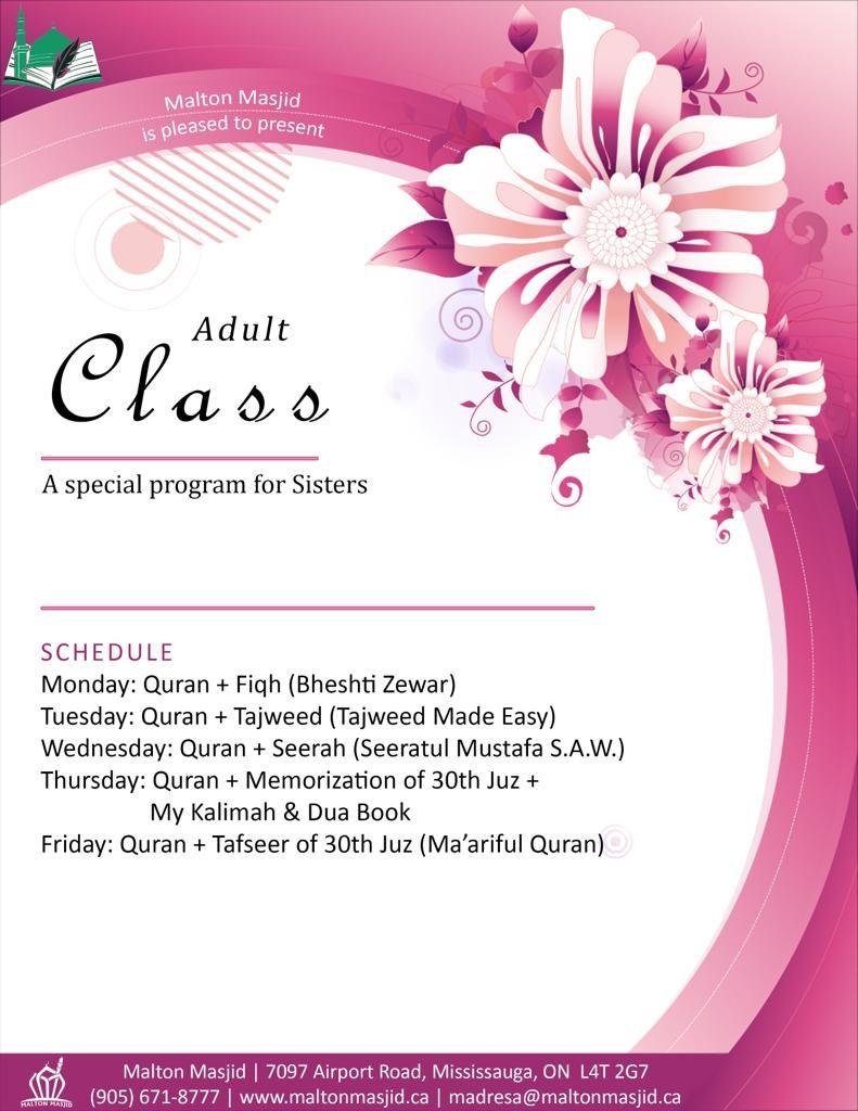 Adult Class – Special Program for Sisters – Malton Masjid