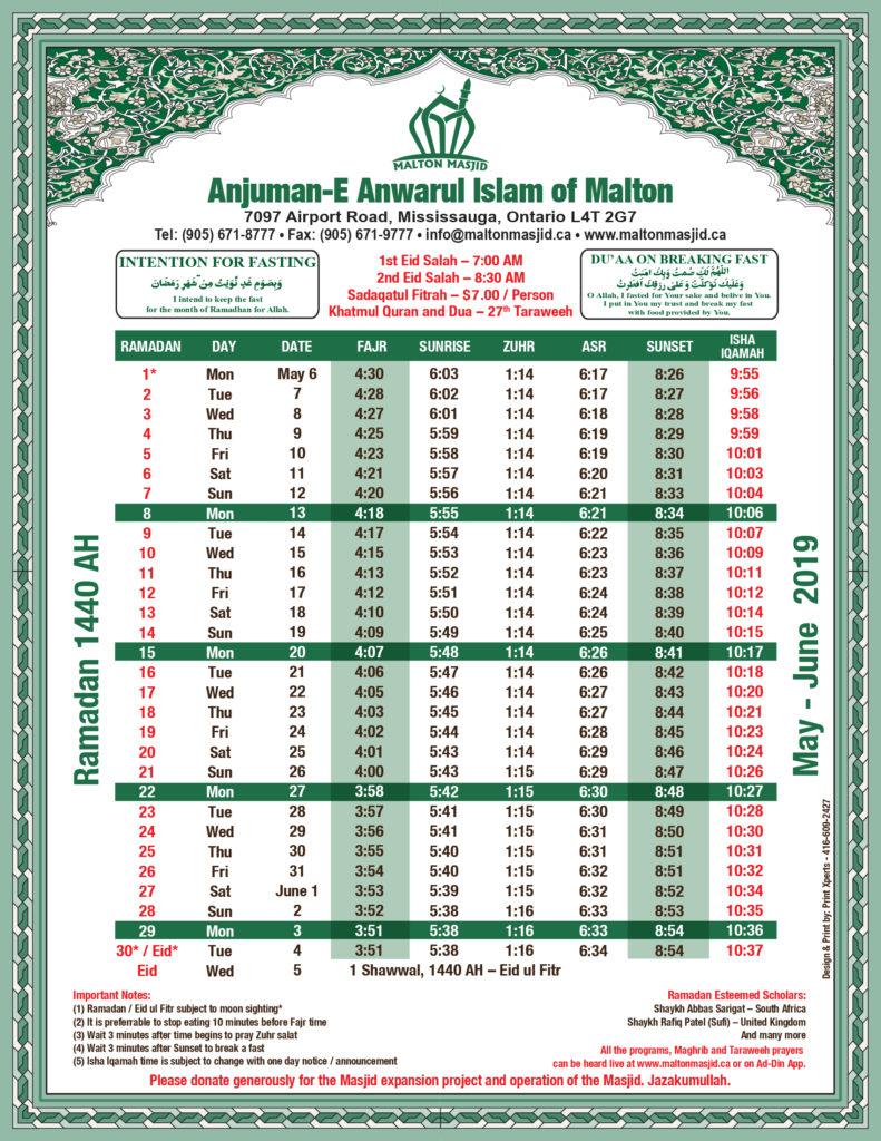 Ramadan Calendar 2019.Ramadan Calendar 1440 2019 Malton Masjid